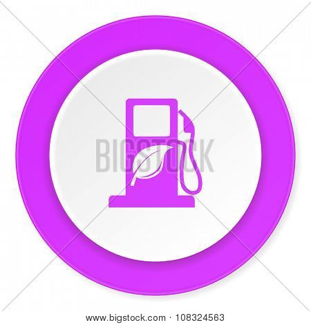 biofuel violet pink circle 3d modern flat design icon on white background