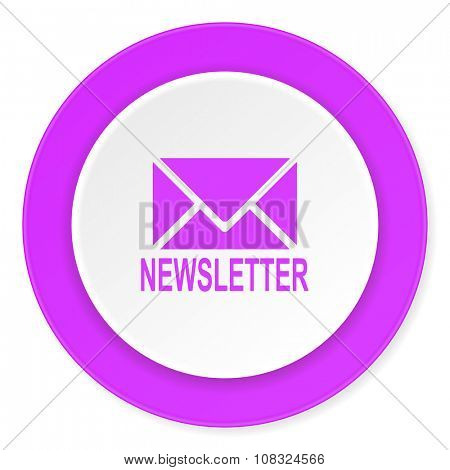 newsletter violet pink circle 3d modern flat design icon on white background