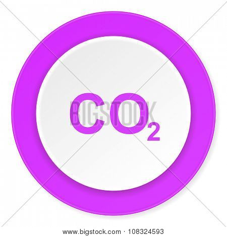 carbon dioxide violet pink circle 3d modern flat design icon on white background