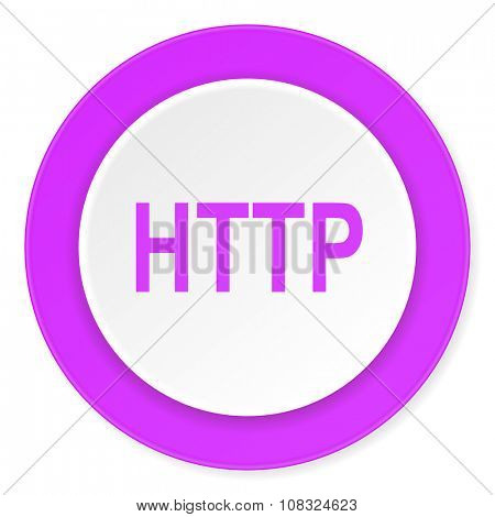 http violet pink circle 3d modern flat design icon on white background