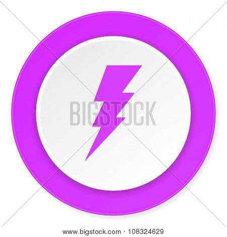 bolt violet pink circle 3d modern flat design icon on white background