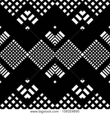 Seamless Tartan Pattern. Vector Black and White Background
