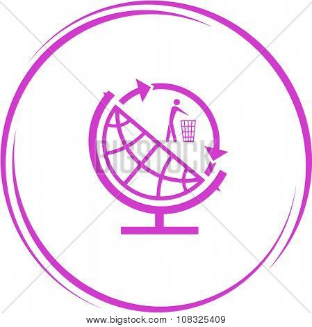 globe and recycling symbol. Internet button. Vector icon.