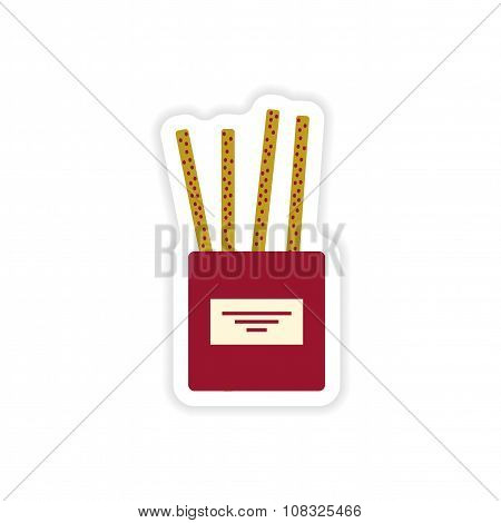 stylish paper sticker on white background cheese sticks