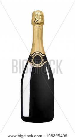 Sparkling black wine bottle