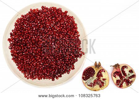 Full plate of peeled pomegranate good for health