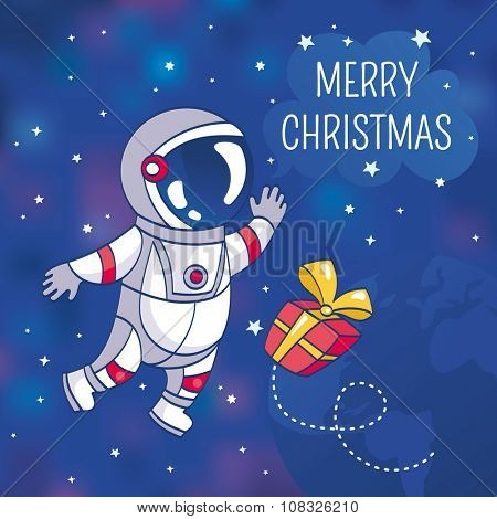 Christmas greeting card with astronaut, vector illustration, contains gradient mesh