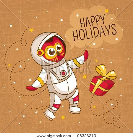 Vintage greeting card with owl astronaut in a human space suit, vector illustration