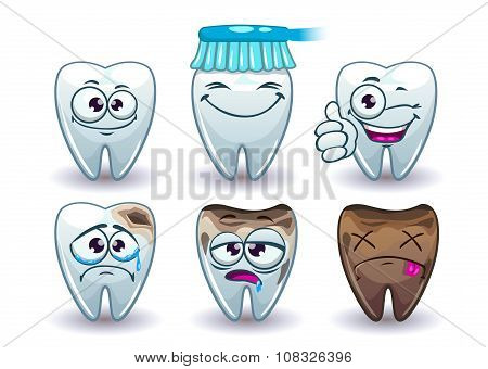 Funny cartoon vector teeth set