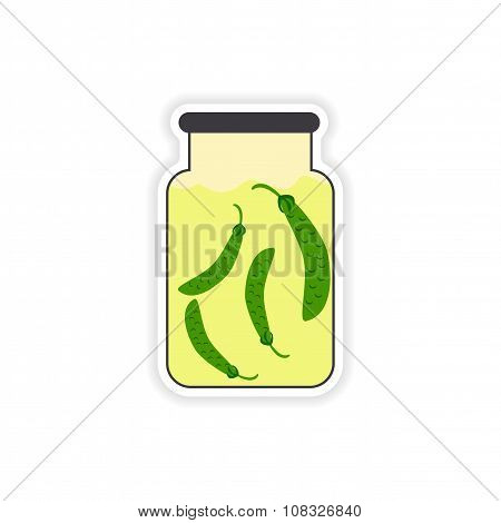 stylish paper sticker on a white background canned peas