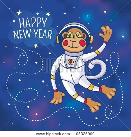New Year greeting card with a monkey astronaut, vector illustration, contains gradient mesh