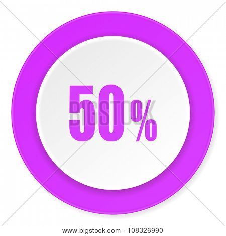 50 percent violet pink circle 3d modern flat design icon on white background