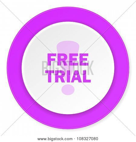 free trial violet pink circle 3d modern flat design icon on white background