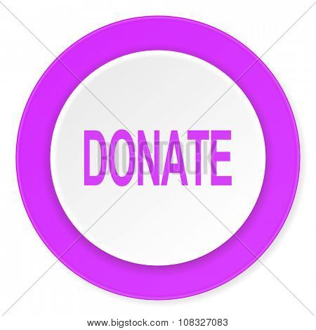 donate violet pink circle 3d modern flat design icon on white background