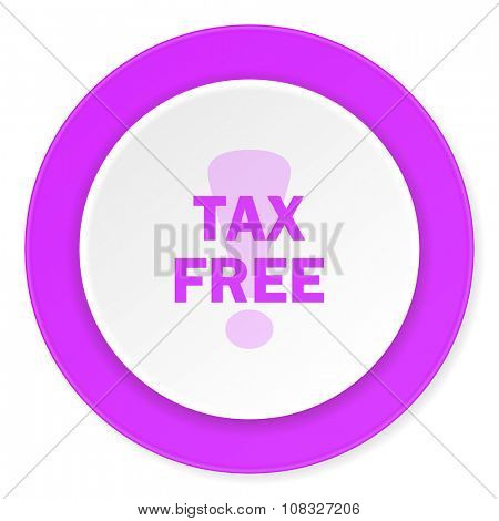 tax free violet pink circle 3d modern flat design icon on white background