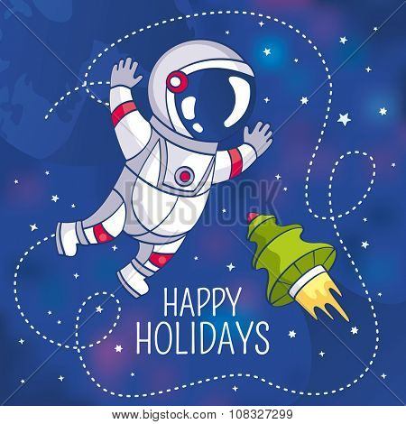 Greeting card with astronaut, vector illustration, contains gradient mesh