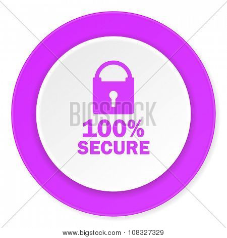 secure violet pink circle 3d modern flat design icon on white background