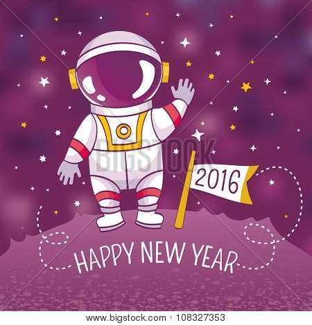 New Year greeting card with astronaut, vector illustration, contains gradient mesh