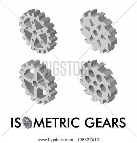 Set Of Four Isometric Gears Isolated On A White Background. Isometric Vector Illustration. Set Of 3D