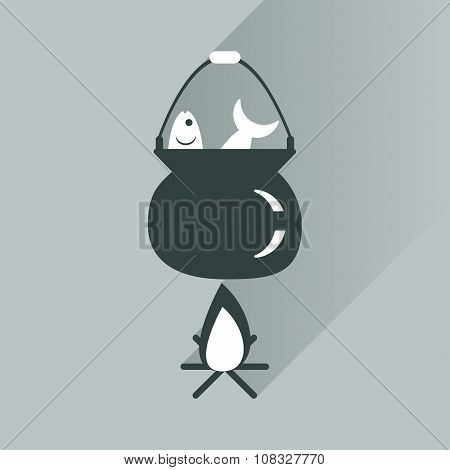 flat icon with long shadow fish soup fire