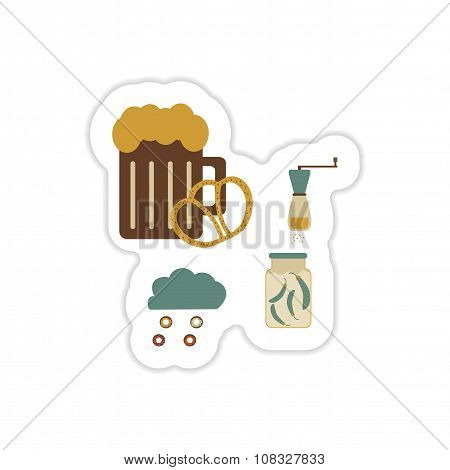 Set of paper stickers on a white background junk food