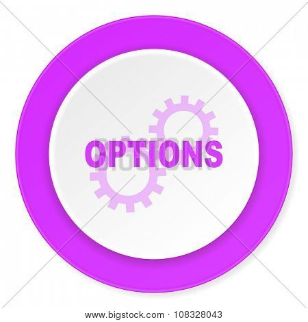 options violet pink circle 3d modern flat design icon on white background