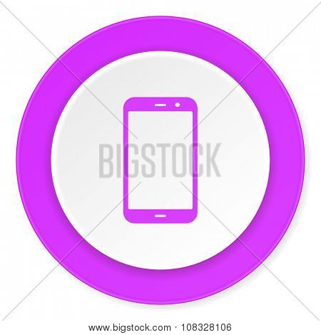 smartphone violet pink circle 3d modern flat design icon on white background
