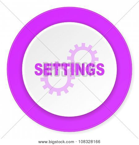 settings violet pink circle 3d modern flat design icon on white background