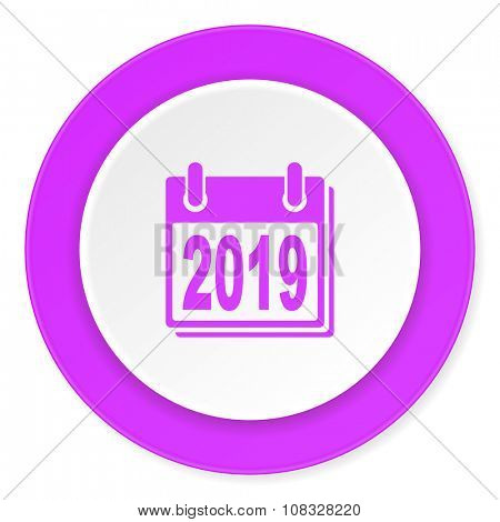 new year 2019 violet pink circle 3d modern flat design icon on white background