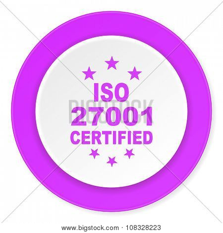 iso 27001 violet pink circle 3d modern flat design icon on white background