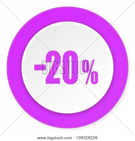 20 percent sale retail violet pink circle 3d modern flat design icon on white background