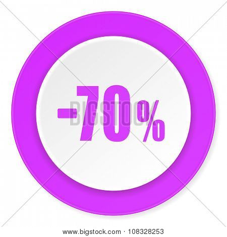 70 percent sale retail violet pink circle 3d modern flat design icon on white background