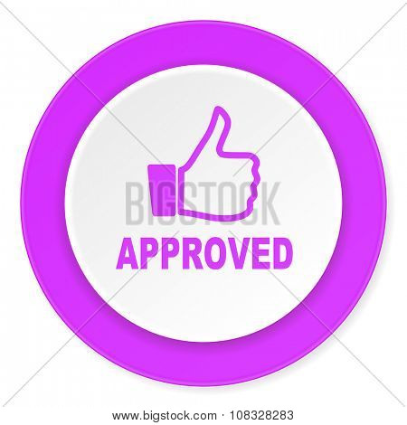 approved violet pink circle 3d modern flat design icon on white background