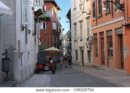 Old Town Street With Stores In Koper In Slovenia