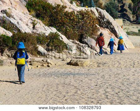 Bolivian children on the way to school