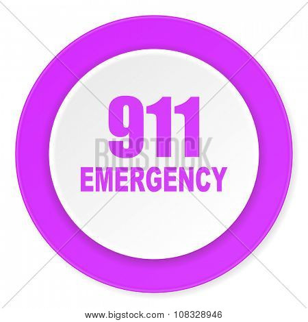 number emergency 911 violet pink circle 3d modern flat design icon on white background