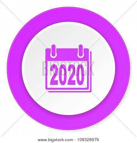 new year 2020 violet pink circle 3d modern flat design icon on white background