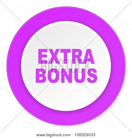 extra bonus violet pink circle 3d modern flat design icon on white background