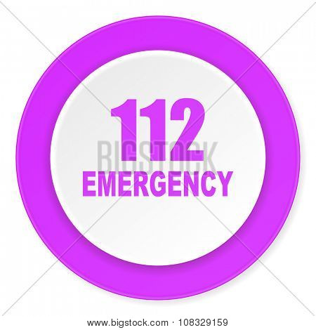 number emergency 112 violet pink circle 3d modern flat design icon on white background
