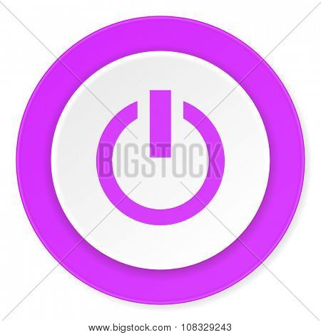 power violet pink circle 3d modern flat design icon on white background