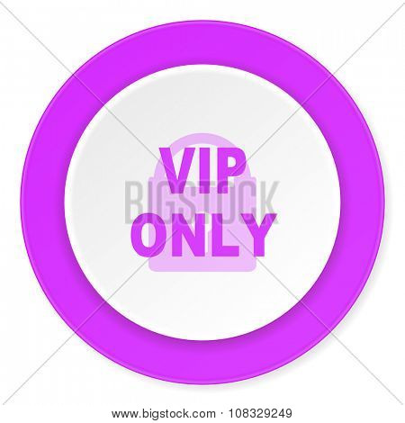 vip only violet pink circle 3d modern flat design icon on white background