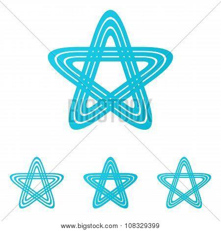 Cyan line pentagram logo design set