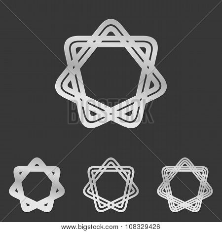 Silver line star logo design set