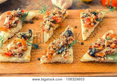 Tapas, Pintxos With Vegetables And Fish