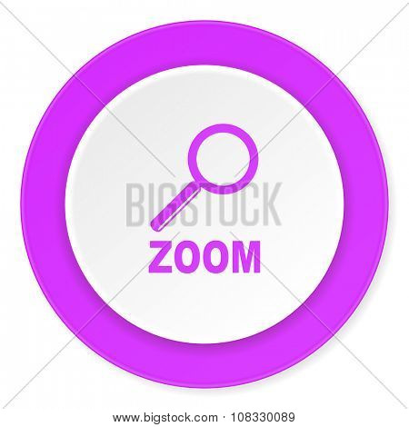zoom violet pink circle 3d modern flat design icon on white background