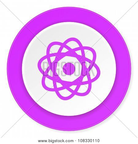 atom violet pink circle 3d modern flat design icon on white background