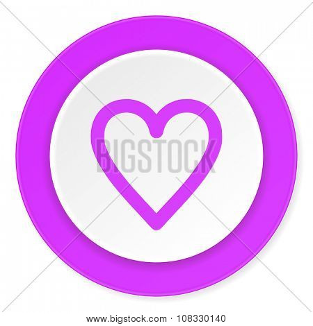 heart violet pink circle 3d modern flat design icon on white background