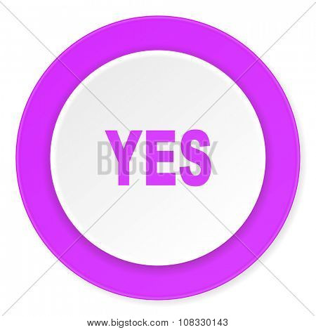 yes violet pink circle 3d modern flat design icon on white background