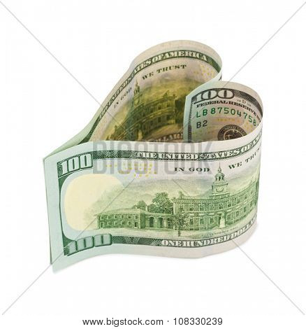 Money heart isolated on white background