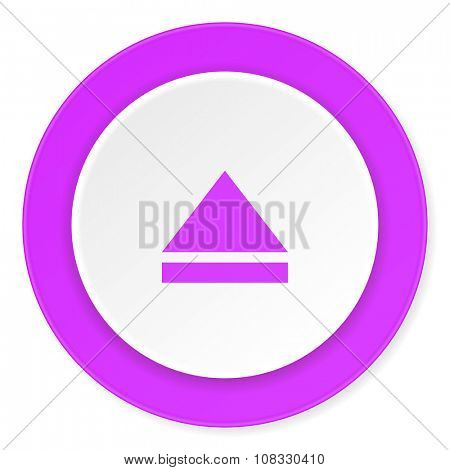 eject violet pink circle 3d modern flat design icon on white background